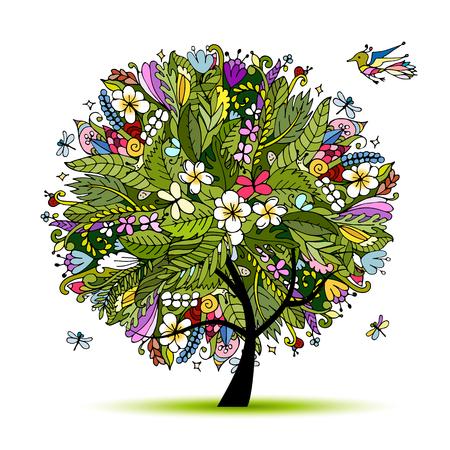 Tropical floral tree for your design. Vector illustration Illustration
