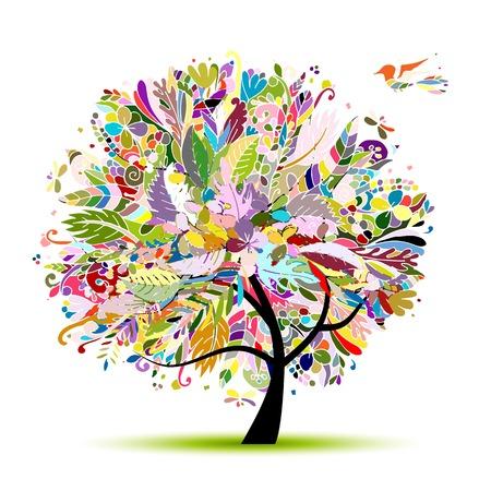 dessin fleur: arbre floral tropical pour votre conception. Vector illustration