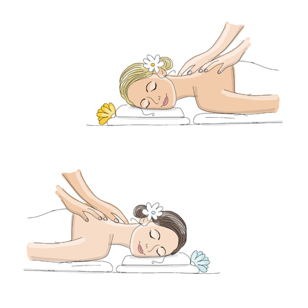 Back massage, woman sketch for your design. Vector illustration