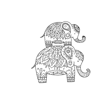 people in line: Elephant ornate, sketch for your design. Vector illustration