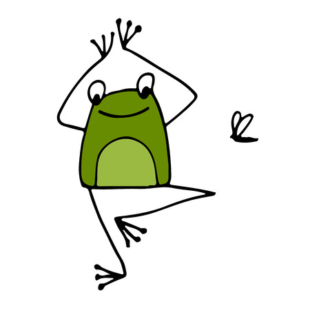Funny yoga frog, sketch for your design. Vector illustration Иллюстрация