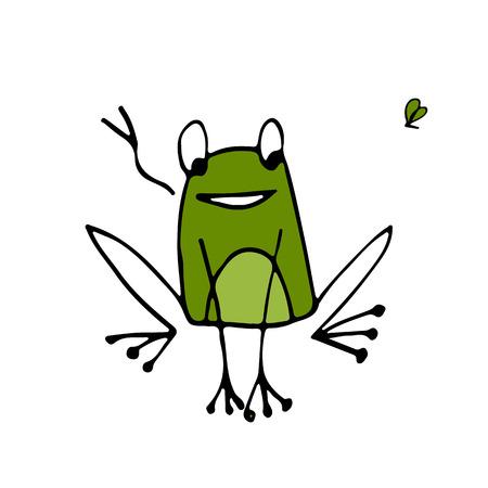 Funny frog, sketch for your design. Vector illustration
