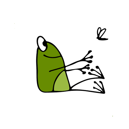 Funny yoga frog, sketch for your design. Vector illustration Stock Illustratie