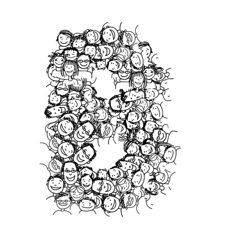 global network: Letter B, people crowd, vector alphabet for your design