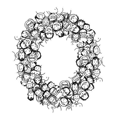 face illustration: Letter O, people crowd, vector alphabet for your design Illustration