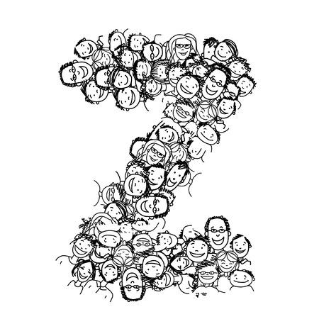 Lettre Z, les gens foule, vecteur alphabet pour votre conception