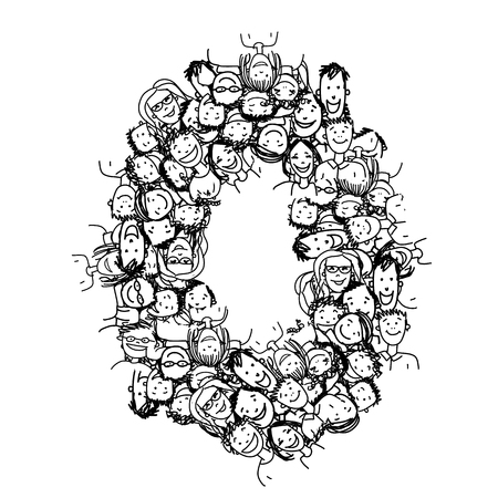 数字の 0、人々 の群衆は、あなたのデザインのベクトル アルファベット