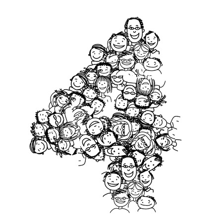 four people: Number four, people crowd, vector alphabet for your design Illustration