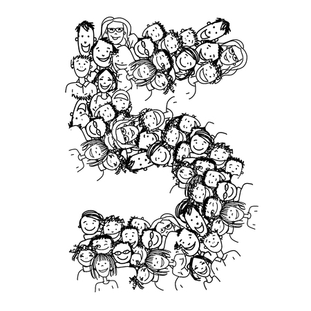 number of people: Number five, people crowd, vector alphabet for your design