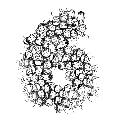 six people: Number six, people crowd, vector alphabet for your design