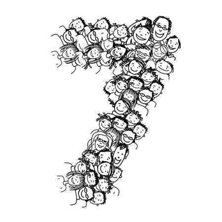 番号 7、人々、あなたの設計のためのベクトル アルファベット
