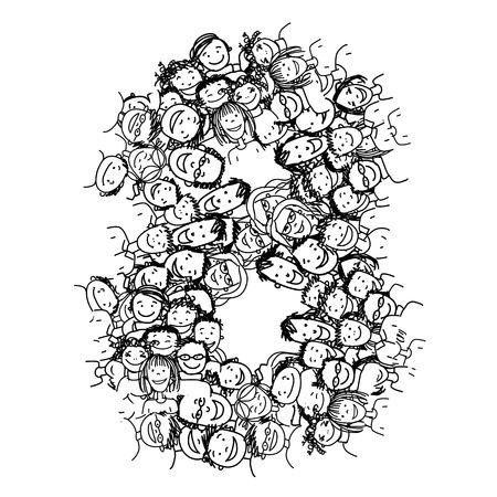 Nombre de huit, les gens foule, vecteur alphabet pour votre conception Vecteurs