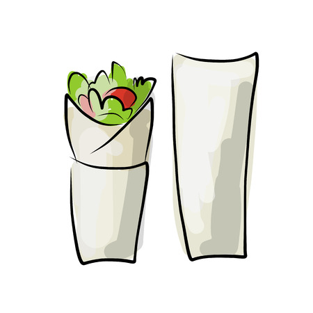 pita bread: Kebab with pita bread, fast food. sketch design. Vector illustration