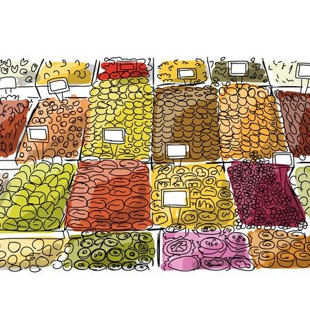 market stall: Oriental bazaar, sketch for your design. Vector illustration