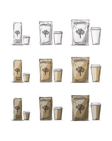 Bag packaging and take away coffee cups, sketch for your design. Vector illustration