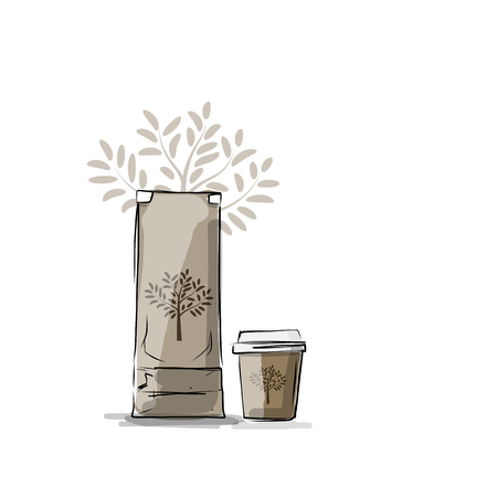 away travel: Bag packaging and take away coffee cup, sketch for your design. Vector illustration Illustration