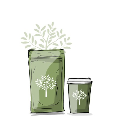 medium size: Bag packaging and take away coffee cup, sketch for your design. Vector illustration Illustration