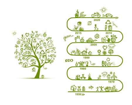 생태 인포 그래픽은 yuor 디자인을위한 스케치합니다. 벡터 일러스트 레이 션