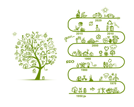Ecologie infographics, schets voor yuor design. vector illustratie Stock Illustratie