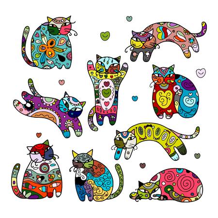 Kunst Katzen mit Blumenverzierung für Ihren Entwurf. Vektor-Illustration Vektorgrafik