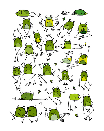 froggy: Funny frogs collection, sketch for your design. Vector illustration Illustration