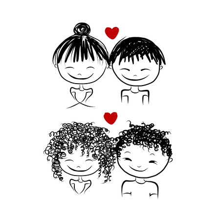 couple together: Couple in love together, valentine sketch for your design, vector illustration