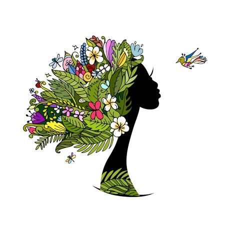 donna farfalla: Ritratto femminile con l'acconciatura tropicale per la progettazione. illustrazione di vettore