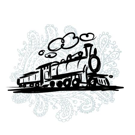 railroads: Speed train, sketch for your design. Vector illustration