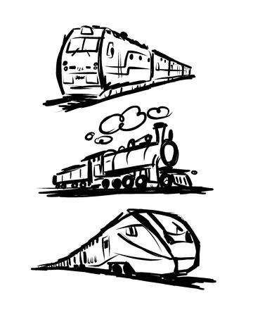 locomotora: Tren de la velocidad, boceto de su diseño. ilustración vectorial Vectores