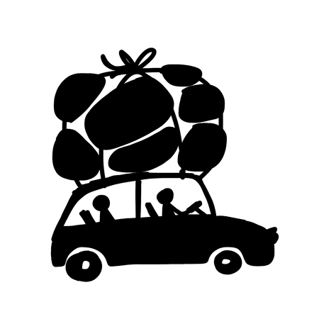 road trip: Family traveling by car with luggage, vector illustration