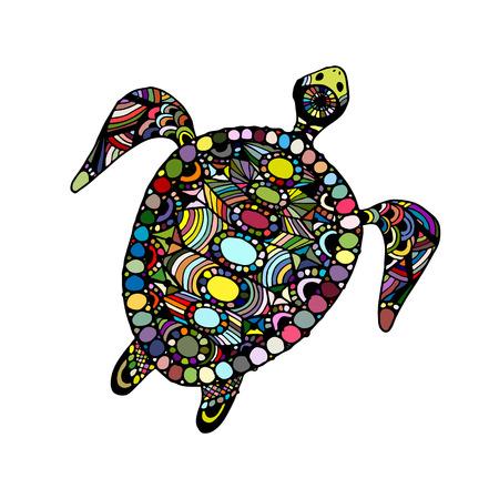 Tortoise ornate, zentangle for your design. Vector illustration