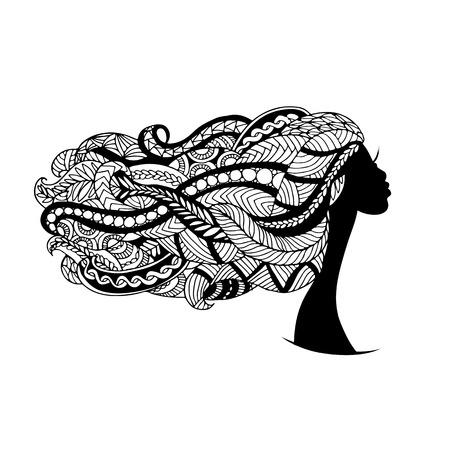 femme dessin: visage féminin, coiffure ornée pour votre design. Vector illustration Illustration