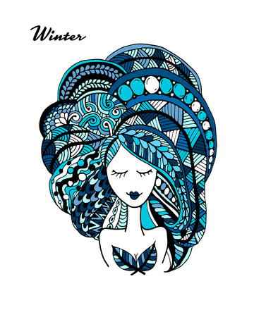 hairstyle: Female face, ornate hairstyle for your design. Vector illustration