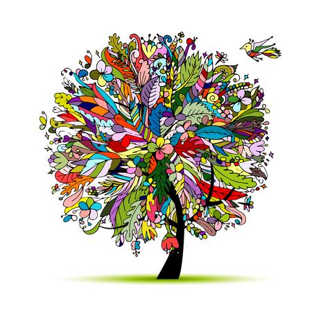 Tropische bloemen boom voor uw ontwerp