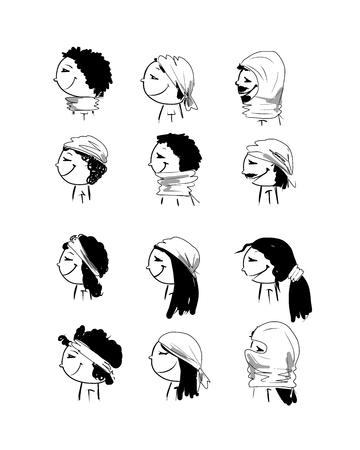 head wear: Hats transformer, ways of dressing for boys and girls.