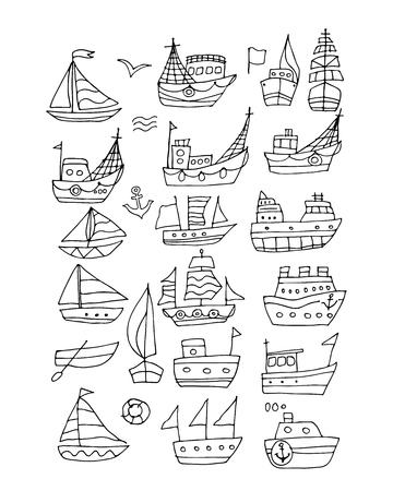 Set of ships, sketch for your design. Stock Illustratie