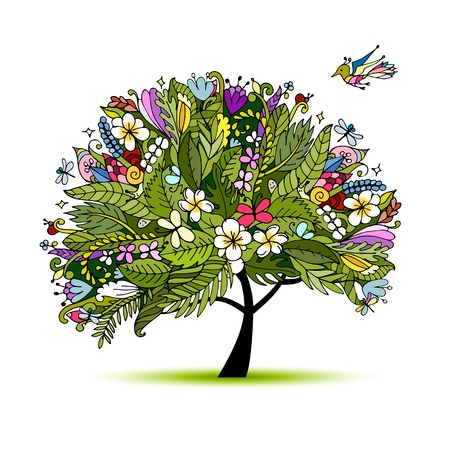 ferns and orchids: Tropical floral tree for your design. Vector illustration Illustration