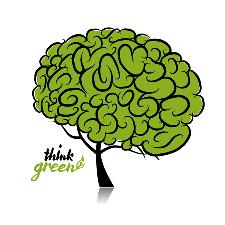 organic: Think green. Brain tree concept for your design. Vector illustration Illustration
