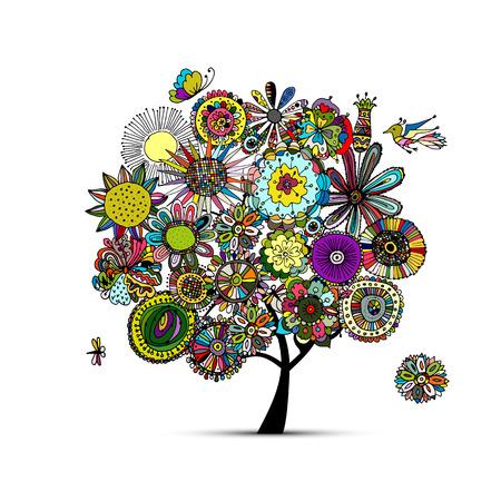 Floral tree, croquis pour votre conception. Vector illustration Banque d'images - 57682641