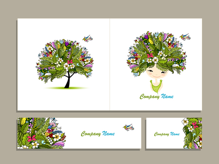 feminity: Business cards, tropical girl for your design. Vector illustration