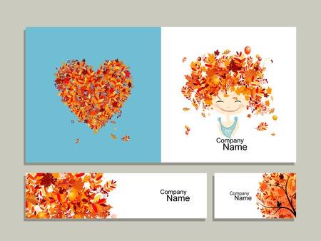 feminity: Business cards, autumn girl for your design. Vector illustration