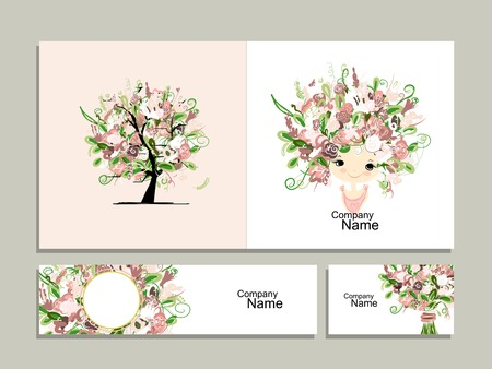 feminity: Business cards, floral girl for your design. Vector illustration