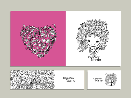feminity: Floral girl, greeting card and banners for your design. Vector illustration