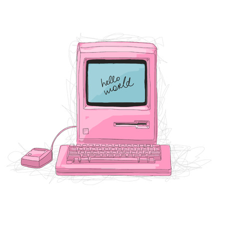 Retro computer pink, sketch for your design. Vector illustration