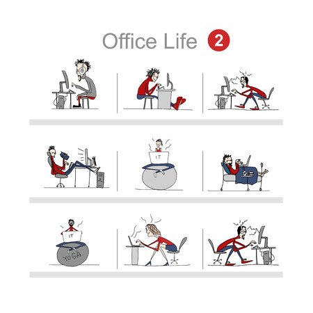 Programmers at work, office life, sketch for your design. Vector illustration