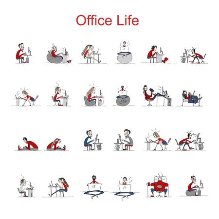 crazy people: Los programadores en el trabajo, la vida de oficina, boceto de su diseño. ilustración vectorial Vectores