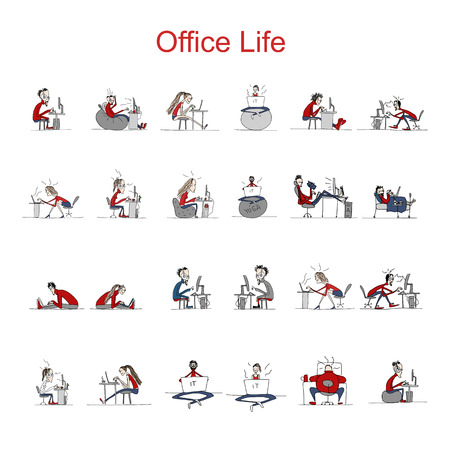 crazy face: Programmers at work, office life, sketch for your design. Vector illustration