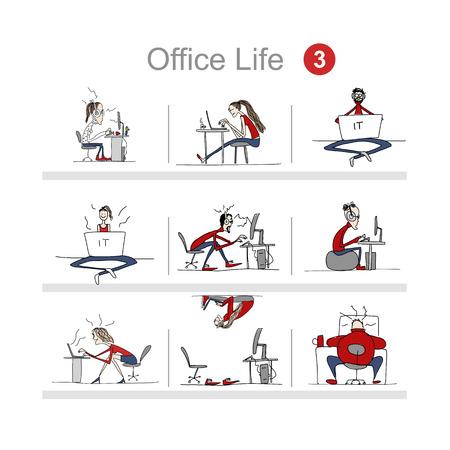 Les programmeurs au travail, la vie de bureau, croquis pour votre conception. Vector illustration Vecteurs