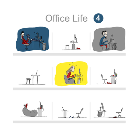 chat room: Programmers at work, office life, sketch for your design. Vector illustration