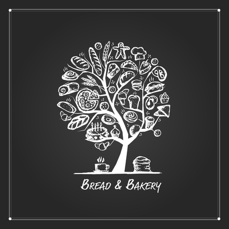 art logo: Bakery tree concept for your design. Vector illustration Illustration